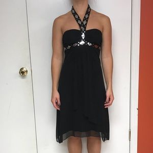 Black Dress Sequin Accented Collar